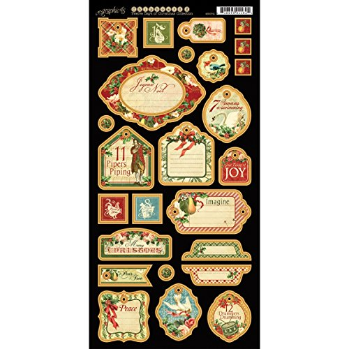 Graphic 45 12 Days of Christmas Chipboard Die-Cuts-2