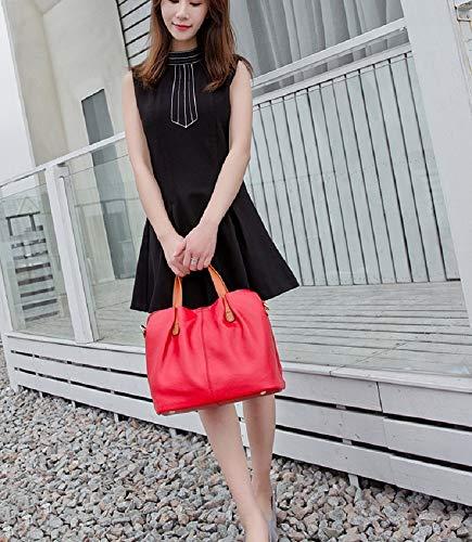 Mano Spalla Vacchetta Rosso Pelle In ColoreTracolla centimetro Primo Xwh Contrasto Borsa Da Con Ampia Capacità Livello Donna grigio PelleA Di nP80wOkNX