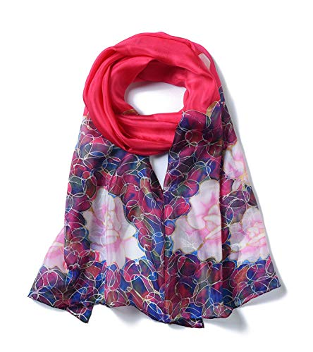 Invisible World Women's 100% Mulberry Silk Scarf Long Hand Painted Floral- - Painted Hand Silk Wrap