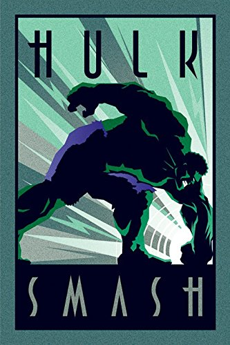 POSTER STOP ONLINE The Incredible Hulk - Marvel Comics Poster/Print (Art-Deco Design - Hulk Smash) (Size: 24