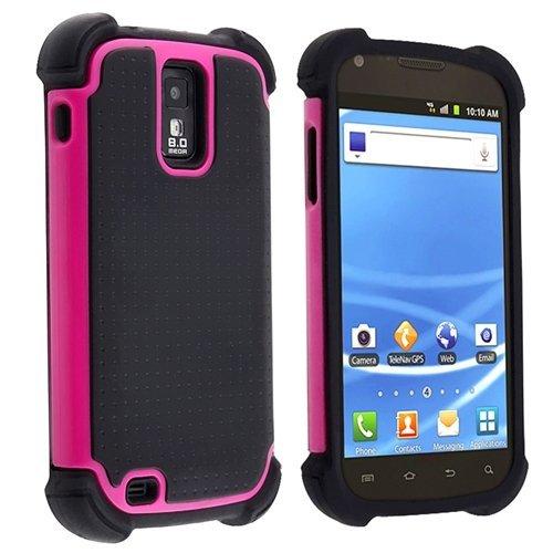 Hybrid Armor Case for Samsung Galaxy S II S2 Hercules aka T-Mobile T989, Pink/ Black