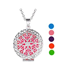 Aromatherapy Essential Oil Diffuser Necklace Round Pendant with Pierced Pattern,Silver-plated