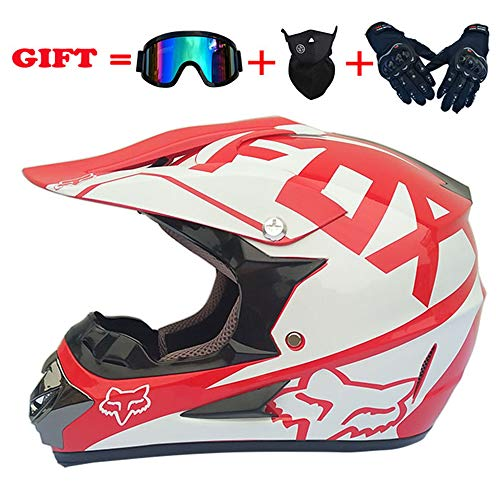 Motocross Helmet 30Colors Adult Full Face ATV/MX/Off-road Motorcycle 4pc set DOT ()