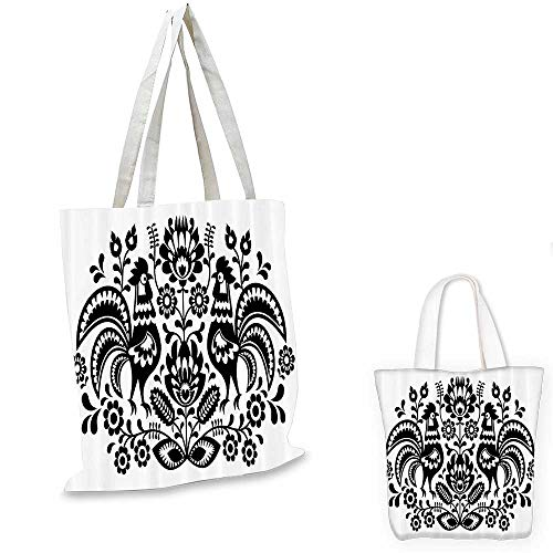 ion fashion shopping tote bag Polish Floral Embroidery with Roosters Traditional Folk Pattern Cut Out Easter Celebration Image canvas bag shopping Black. 12