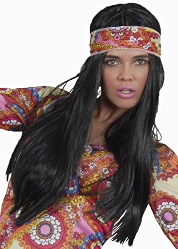 Magic Box Peluca de Mujer Hippie Negra Larga de los años 70 ...