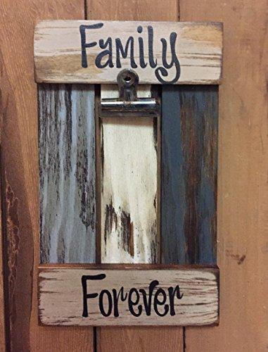 RECLAIMED PHOTO HOLDER Shutter / Pallet Picture Frame - FAMILY (Heart Frame Name Pendant)