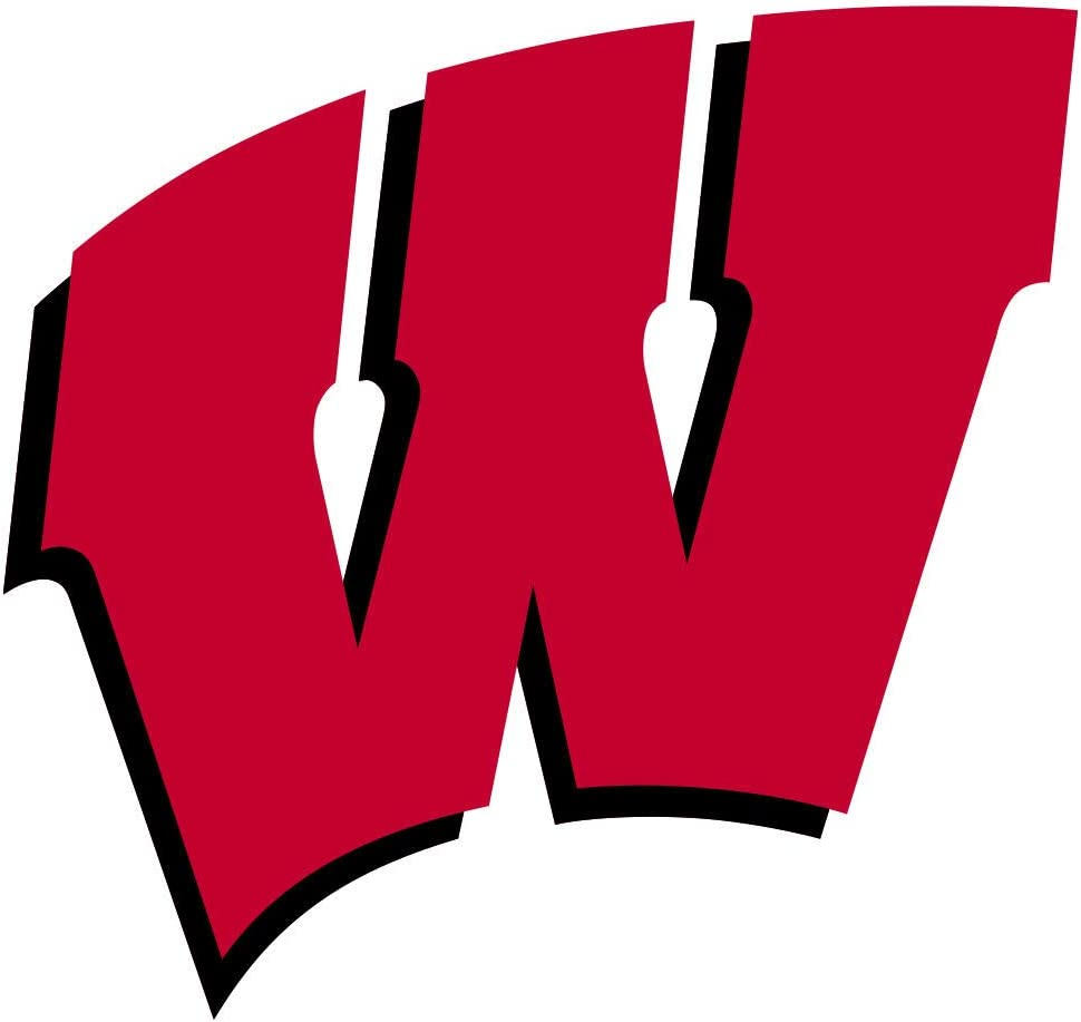"Wisconsin Badgers NCAA Football Premium Quality Die Cut Sticker Vinyl Decal for Car Bumper Laptop Window Locker, 10"" max Size"