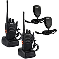 Retevis H-777 Walkie Talkie UHF 400-470MHz 3W 16CH with Original Earpiece Handheld Amateur Radio Transceiver 2 Way Radio (2 Pack) and Speaker Mic (2 Pack)