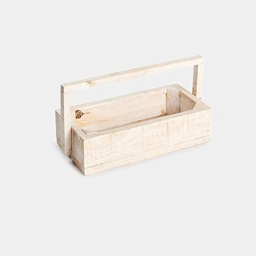 Caja de madera de pino para decoración, almacenaje y ordenación, con asa, color