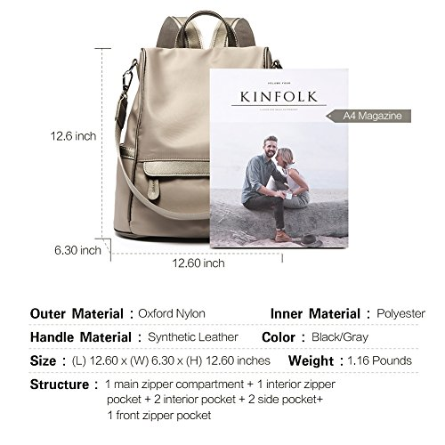 Women Backpack Purse Nylon Fashion Casual Shoulder Bag Lightweight Water Resistant School Backpack gray by Cluci (Image #2)