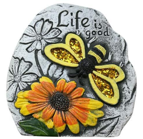 Evolution EFT Outdoors Decorative Glitter Garden Stone Plaque Yellow