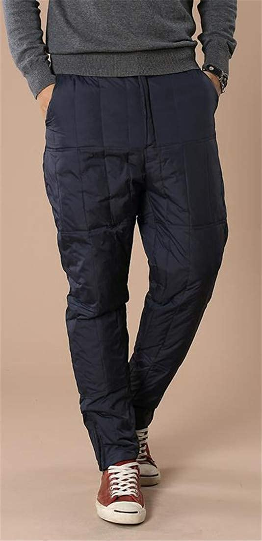 Pivaconis Men Light Winter Warm Outwear Elastic Waist Quilted Down Pants