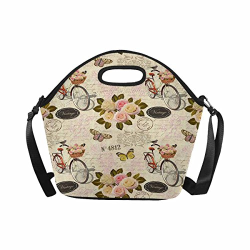 InterestPrint Vintage Roses Butterfly Bird and Bicycle on Old Postal Stamps Lunch Bag Tote Handbag Lunchbox Large Insulated Neoprene Gourmet Tote Cooler Warm Pouch with Shoulder - Stamps Old Postal