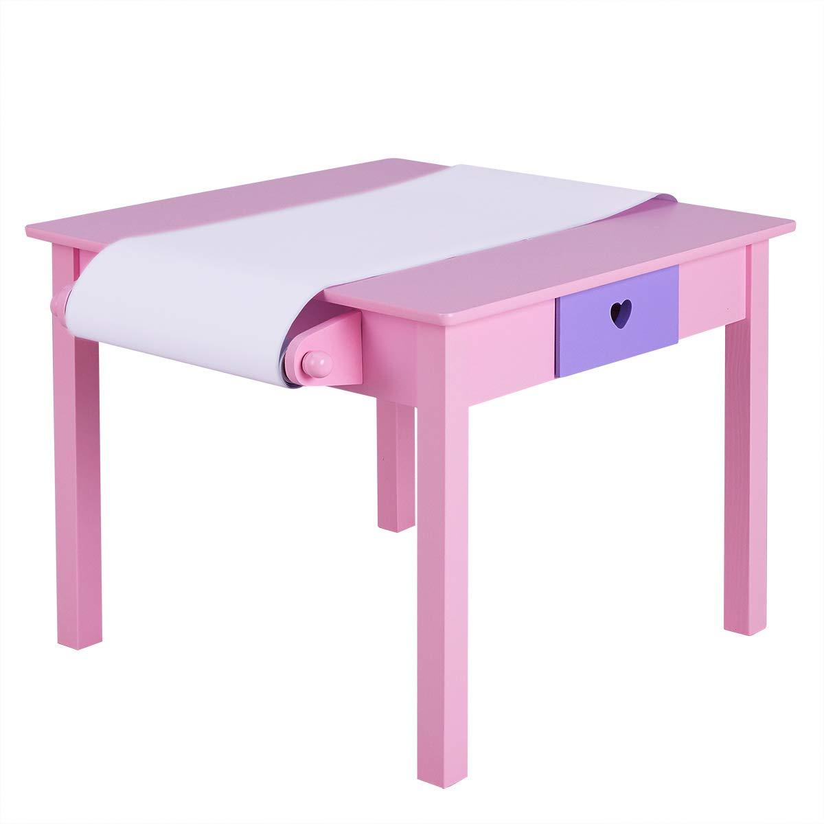 Kindertisch mit 2 Kinderst/ühlen Kindertischgruppe mit Rollenhalter und Papierrolle mit 2 Schubladen Modell 1 Kinderm/öbel aus Holz Kindersitzgruppe COSTWAY Sitzgruppe Kinder 3tlg