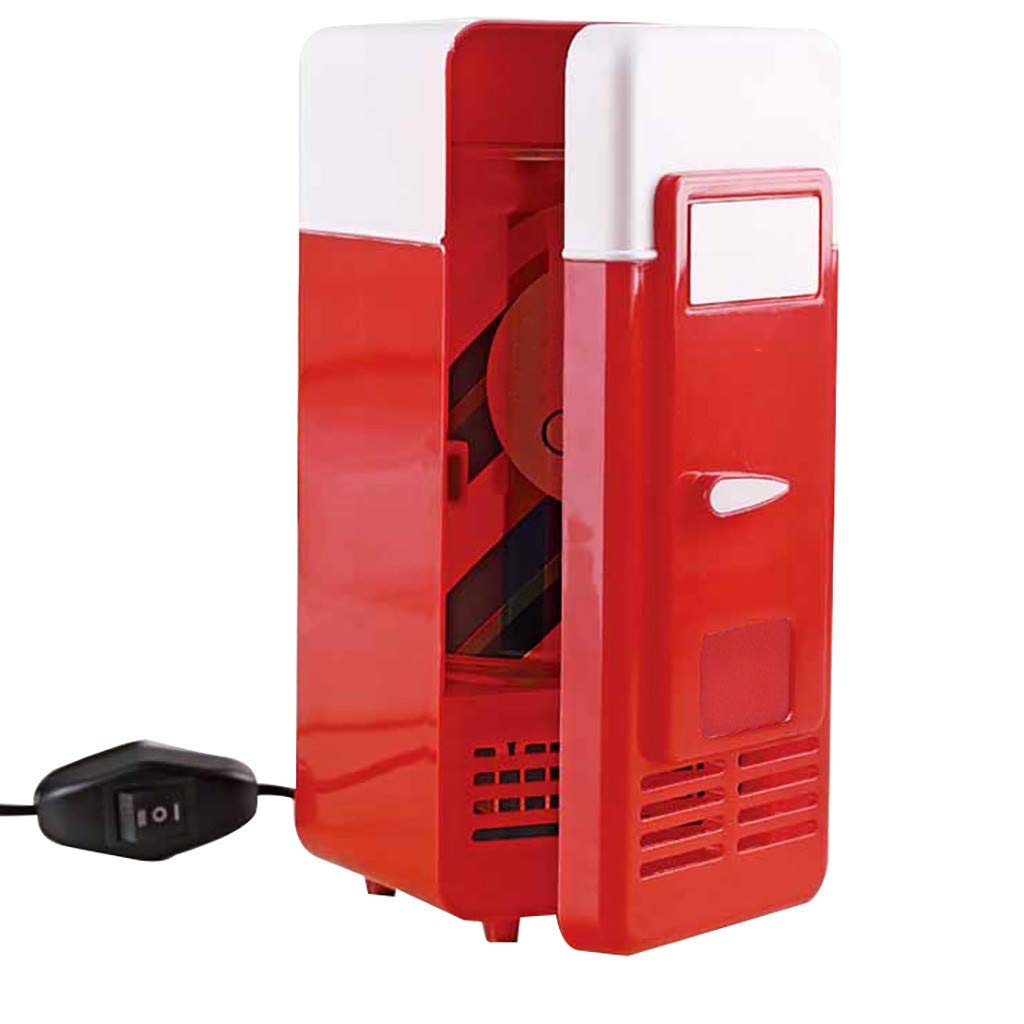 Wictoka 2 in 1 Desktop Mini Fridge USB Gadget Beverage Cans Cooler Warmer Refrigerator with Internal LED Light Car Use No Driver Required, Plug and Play (Red)