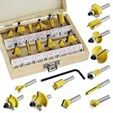 Spares2go Tungsten Carbide Tipped Router Bit Set (12 Pieces, 6.35mm...