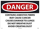 D24PD National Marker Label, Danger Contains Asbestos Fibers May Cause Cancer Causes Damage to Lungs Do Not Breathe Dust Avoid Creating Dust, 20 x 28, ps Vinyl