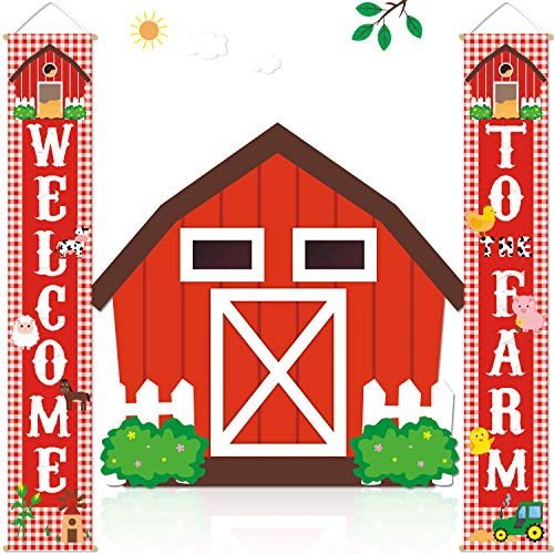 Farm Animal Porch Banner Barnyard Birthday Party Welcome Door Sign Family Farmhouse Baby Shower Decorations (Barn Animals Party Favors)