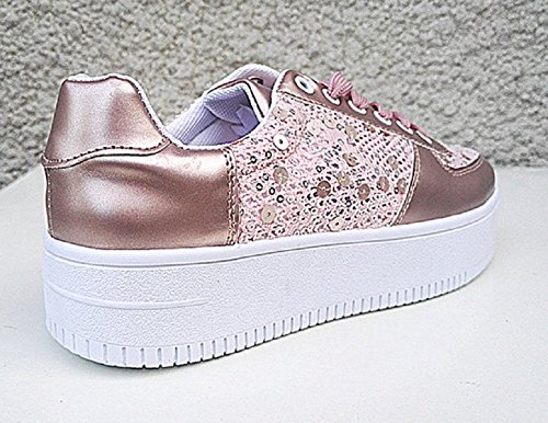 montante TL fille CHAMPAGNE ROSE 13 Basket fashionfolie lacet chaussure femme compensées dentelle paillette ExRH1wqpz