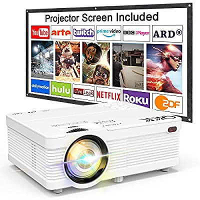"""QKK Portable LCD Projector 3500 Brightness [100"""" Projector Screen Included] Full HD 1080P Supported, Compatible with Smartphone, TV Stick, Games, HDMI, AV, Indoor & Outdoor Projector for Home Theater"""