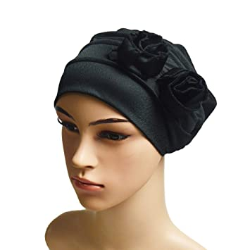 4e939c16539 Amazon.com   EnjoCho Clearance Sale!Women India Hat Muslim Ruffle Cancer  Chemo Hat Beanie Scarf Turban Head Wrap Cap Casual Cotton Flower  Comfortable Soft ...