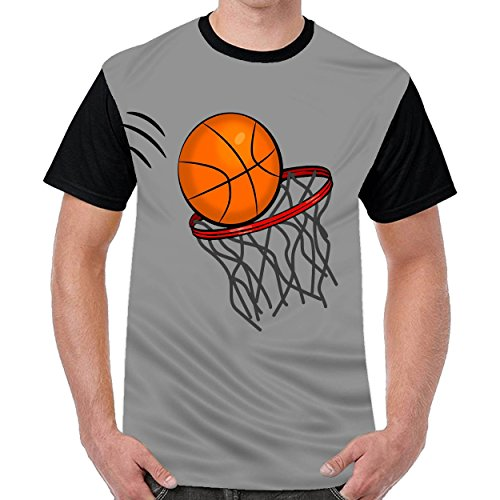 FunnyKing Basketball Mens Casual Round Neck t Shirts Graphic T-Shirt Dark Gray
