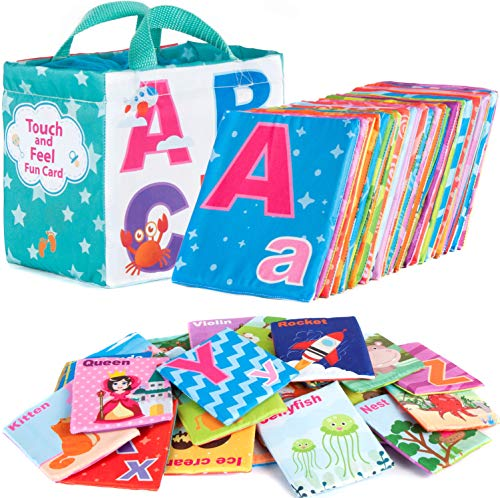 (Soft Alphabet Cards - Educational ABC Letters Preschool Baby Flash Cards Learning Montessori Classroom Teaching Toy for Kids Toddlers - All 26 Letters & Cloth Storage Bag)