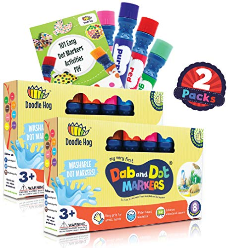 Dab and Dot Markers Washable, Non Toxic for Kids Art Activities Set of 8 Paint Art Daubers (16 Pack) Including Bonus 101 Easy Dot Marker Activities -
