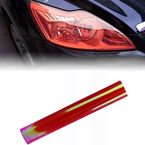 - Boddenly Chameleon Car Headlight Fog Lamp Protect Film Vinyl Wrap Overlays Sheet for Car Decoration 11.8''x47.2''(Red)