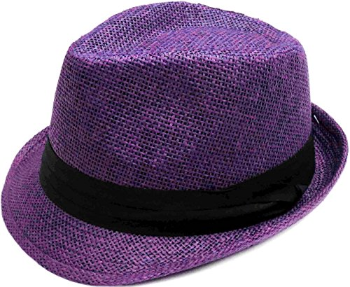 Livingston Unisex Summer Straw Structured Fedora Hat w/Cloth Band, Purple, S/M