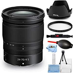 Nikon NIKKOR Z 24-70mm f/4 S Lens 20072 - Essential Bundle with Tulip Hood Lens, UV Filter, Cleaning Pen, Blower, Microfiber Cloth and Cleaning Kit