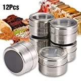 Skymore 12 Pcs Spice Jar Stainless Steel Magnetic Spice Tins Set Spice Organizer Condiment Container, Clear Top Lid & Sift-Pour, With Spice Labels