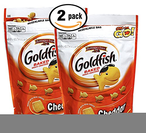Pack of 2 - Whole Grain Cheddar Goldfish Baked Snack Crackers 11 oz in resealable bag