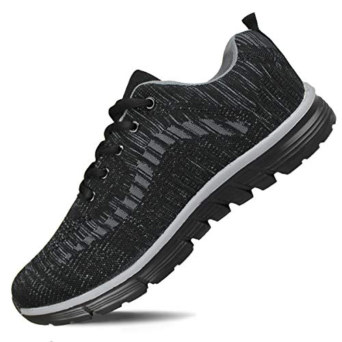 Hawkwell Men's Knit Running Shoes Lightweight Breathable Athletic Tennis Walking Gym Shoes,All Black Knit,10 M US
