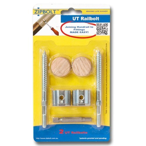 Zipbolt UT Railbolt - Connects Staircase Handrails to Balusters, Spindles, Newels - 1 Blister Pack - Includes 5mm Hex Bit with Quick Release Shank
