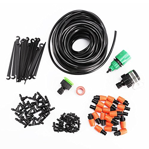 "Dyna-Living 1/4-inch Drip Irrigation Kits Accessories Plant Watering System with 50ft 1/4"" Blank Distribution Tubing Hose, 20pcs Misters, 39pcs Barbed Fittings, Support Stakes, Quick Adapter by Dyna-Living"
