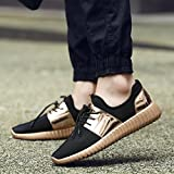 AIMTOPPY HOT Sale, Men Low Ankle Fashion Patchwork Mesh Breathable Casual Sneakers Lace-up Sport Shoes (US:6.5, Gold)