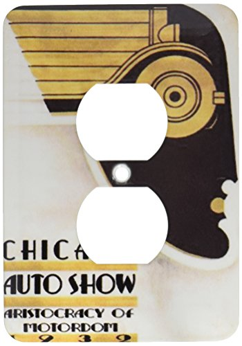 3dRose lsp_163644_6  Image of Art Deco Chicago Auto Show 2 Plug Outlet Cover
