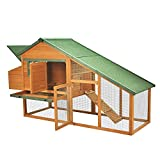 """PawHut 87""""L×29""""W×46"""" Deluxe Backyard Wood Chicken Coop Rabbit Poultry Hen House with Run Nesting Box"""