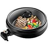 CHEFMAN 3-IN-1 Versatile Indoor Grill Pot & Skillet - Slow Cook, Steam, Simmer, Stir Fry and Serve, Non Stick Electric Griddle Pan w/Temperature Control & Tempered Glass Lid
