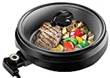 CHEFMAN 3-IN-1 Versatile Indoor Grill Pot & Skillet – Slow Cook, Steam, Simmer, Stir Fry and Serve, Non Stick Electric Griddle Pan w/Temperature Control & Tempered Glass Lid