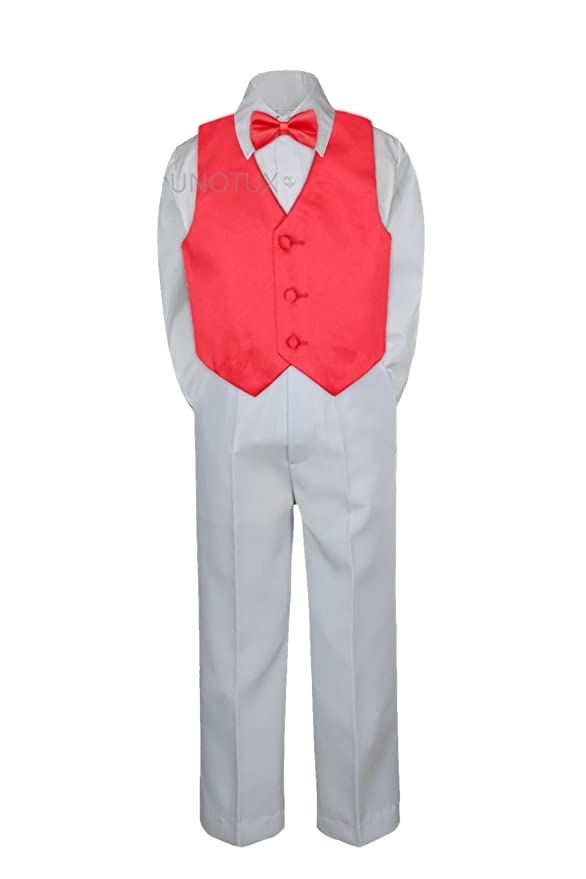 3T Leadertux 4pc Baby Toddler Boys Champagne Vest Bow Tie Navy Blue Pants Suits S-7