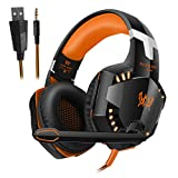 VersionTech G2000 Stereo Gaming Headset for PS4 Xbox One, Bass Over-Ear Headphones with Mic, LED Lights and Volume Control for Laptop, PC, Mac, iPad, Computer, Smartphones, Orange