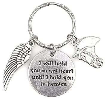 I Will Hold You in My Heart Until I Hold You in Heaven Angel Wing Equestrian Horse Keychain 115L