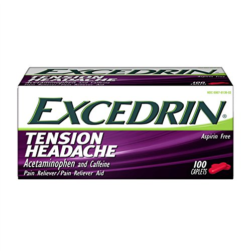 Excedrin Tension Headache Aspirin-Free Caplets for Head, Neck, and Shoulder Pain Relief, 100 ()