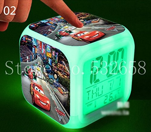 Mcqueen Disney Pixar Cars Alarm Clock with 7 Changing Colors Cute Cartoon LED Clock (Style 2)