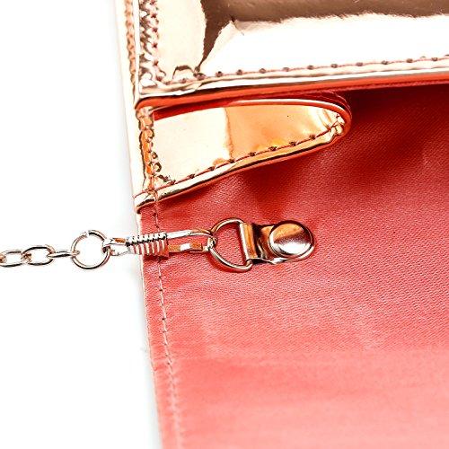 Women Designer Evening Clutch Mirror Patent Bag Fraulein38 Gold Metallic Rose tOxadaf