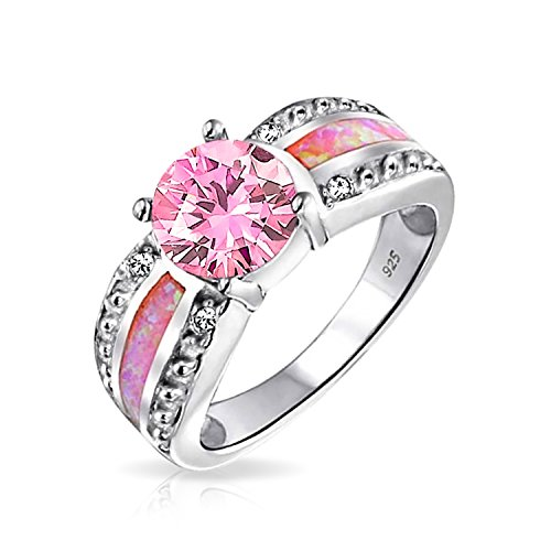 Unique Pink Created Opal Inlay Round Brilliant Cut Solitaire Engagement Ring For Women 925 Sterling Silver (Unique Silver Inlay)