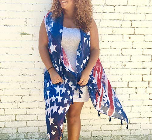 - 4th of july outfit stars and stripes kimono sheer kimono vest fourth of july shirt american flag kimono