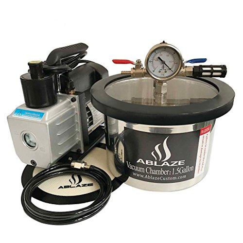 3 Cfm Vacuum Pump (ABLAZE 1.5 Gallon Stainless Steel Vacuum Degassing Chamber and 3 CFM Single Stage Pump Kit)